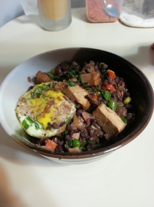 Spicy tofu fried rice with an egg!